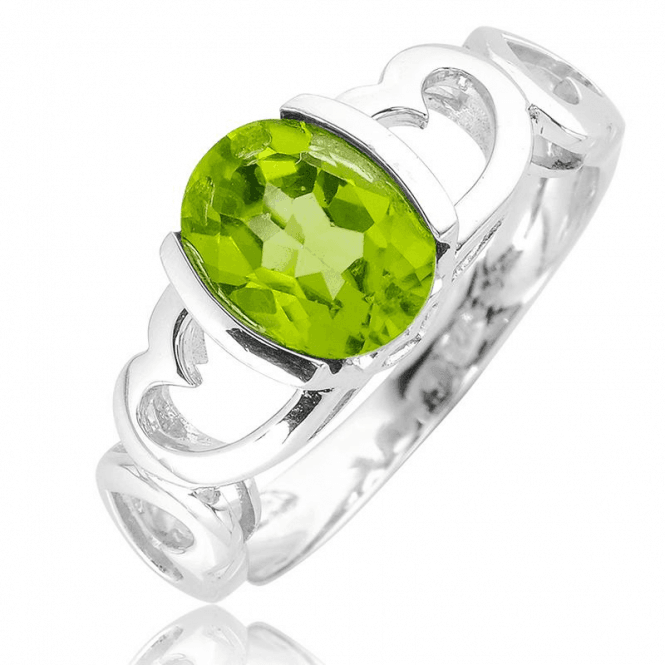 1¾ct Peridot Embraced by Silver Hearts