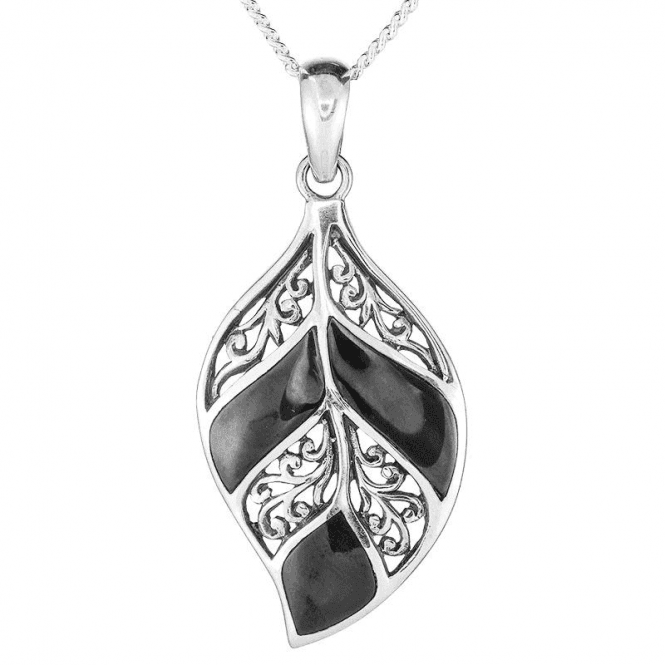 Shipton and Co Sculptural Silver Pendant with Onyx Inlay