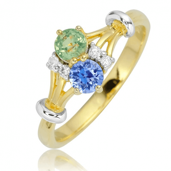 Over ½ct Duet of Sapphires with Diamonds
