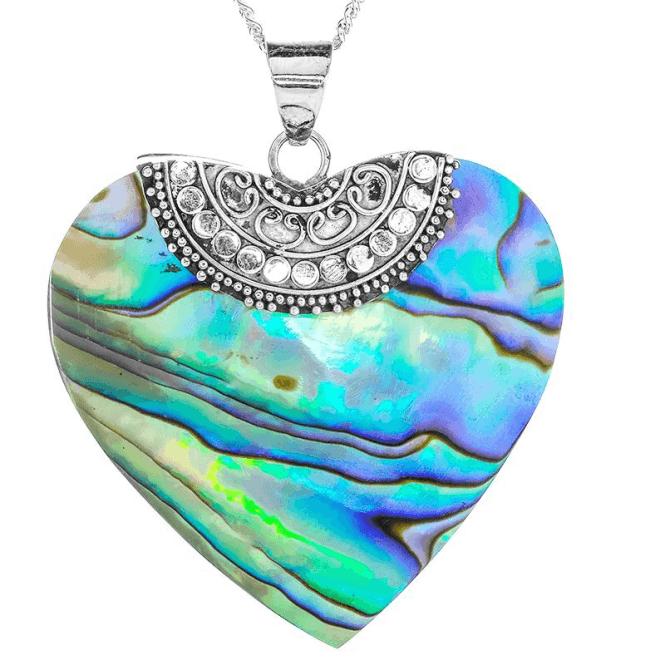 Paua Shell Heart Pendant