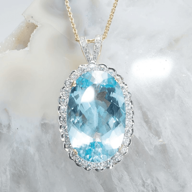 41½ct Aquamarine in a Diamond Setting