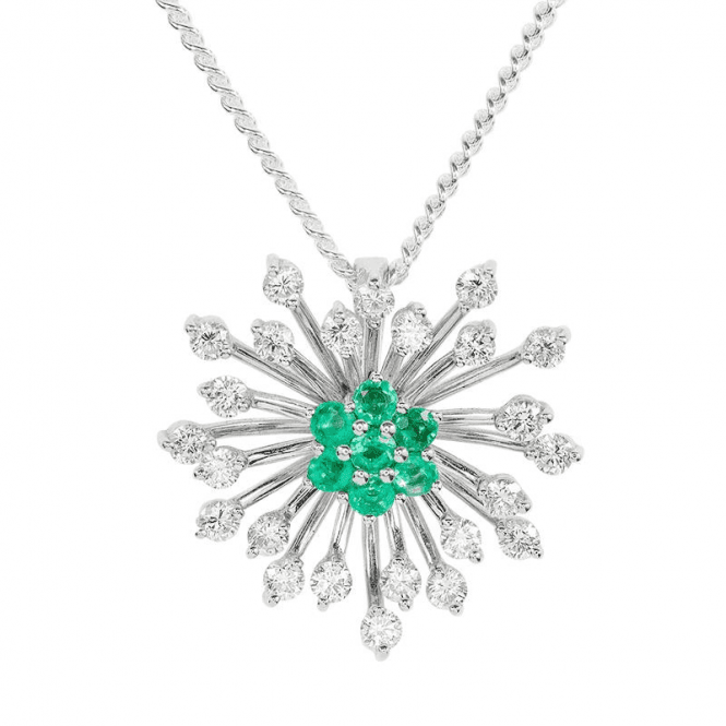 Starburst Diamond Pendant with Emeralds or Sapphires