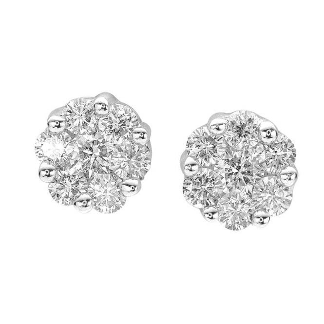 One Carat Diamond Earrings in 18ct White Gold