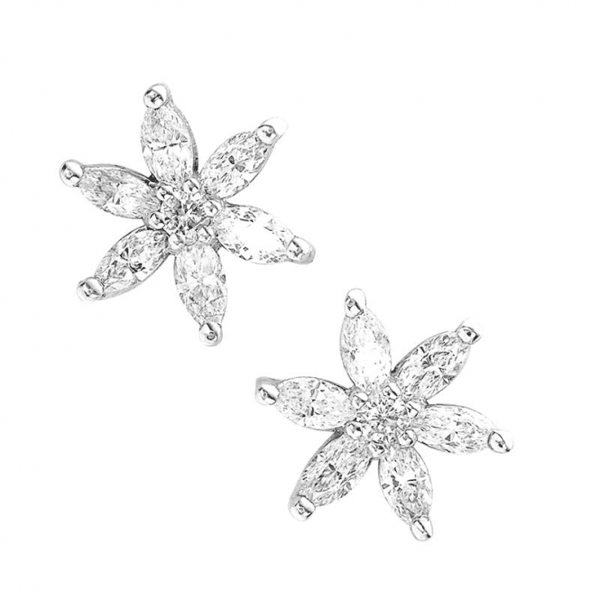 Shipton and Co Edelweiss White Gold Diamond Earrings