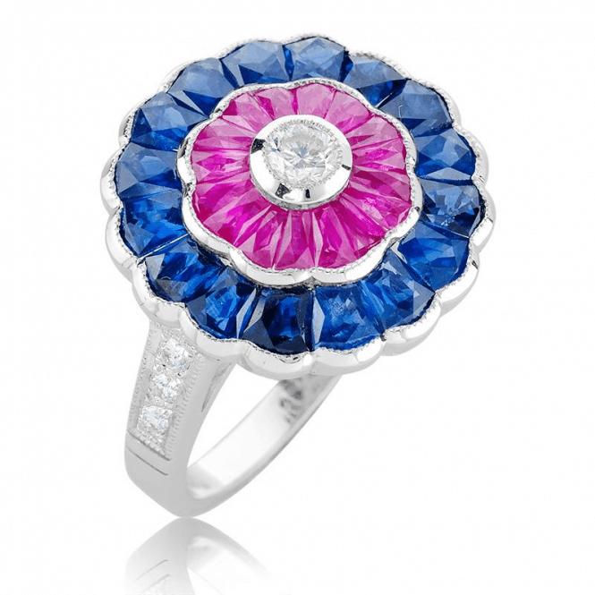 Shipton and Co Diamond, Sapphire & Ruby Flower Masterpiece