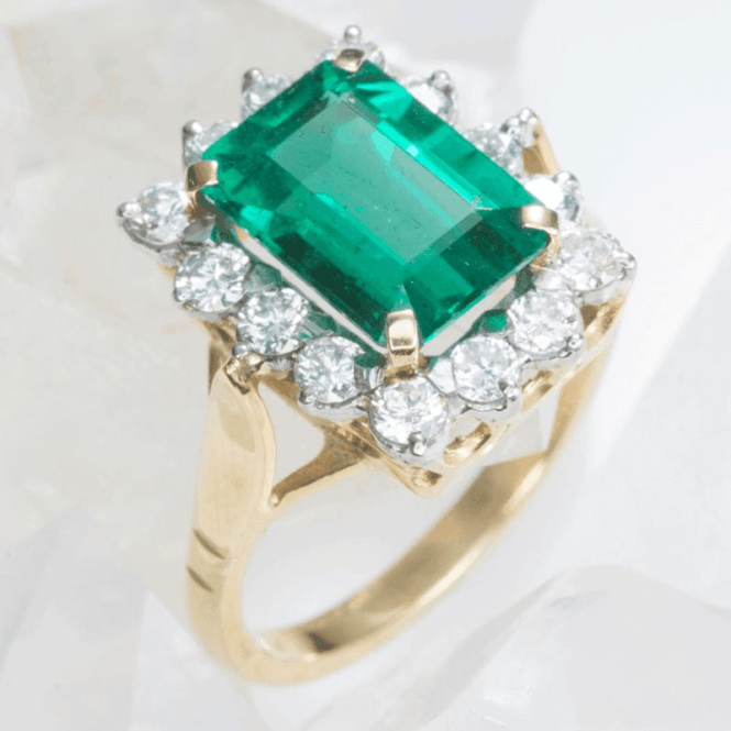 3.67ct Zambian Emerald & Diamond Heirloom Ring