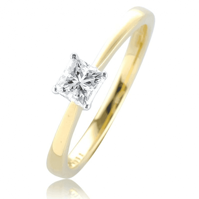 Shipton and Co Certified Princess & Brilliant Cut Diamond Ring in 18ct Gold