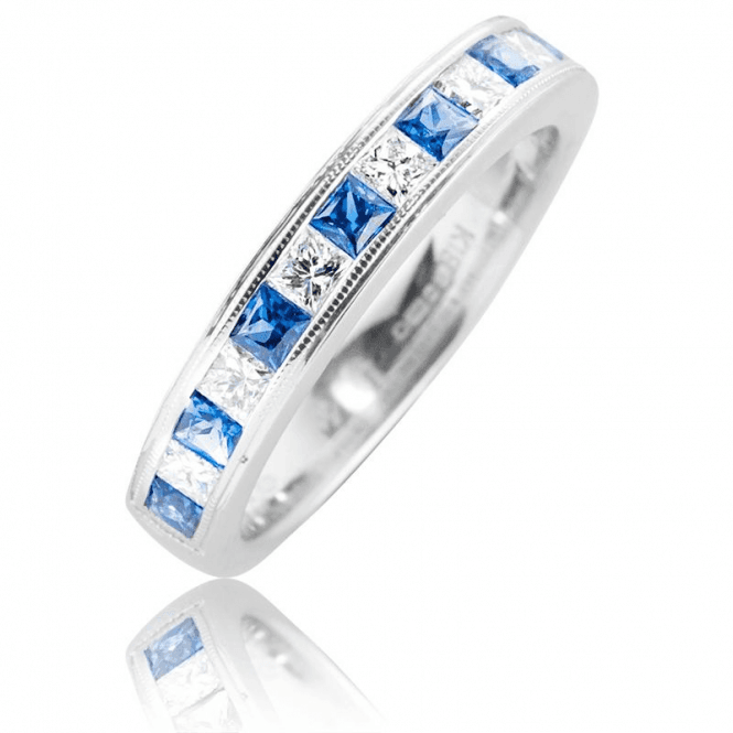 Half Eternity Ring with Sapphires & Diamonds