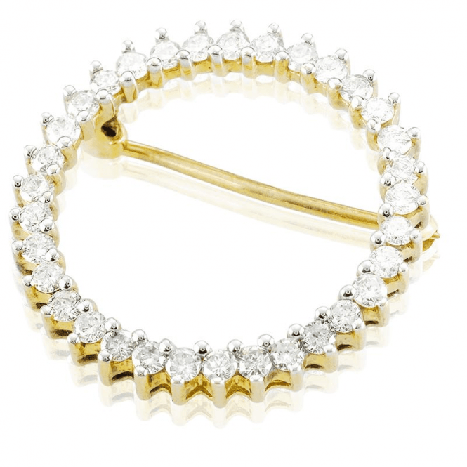 Shipton and Co Classical Understated 1ct Diamond and 9ct Gold Circle Brooch