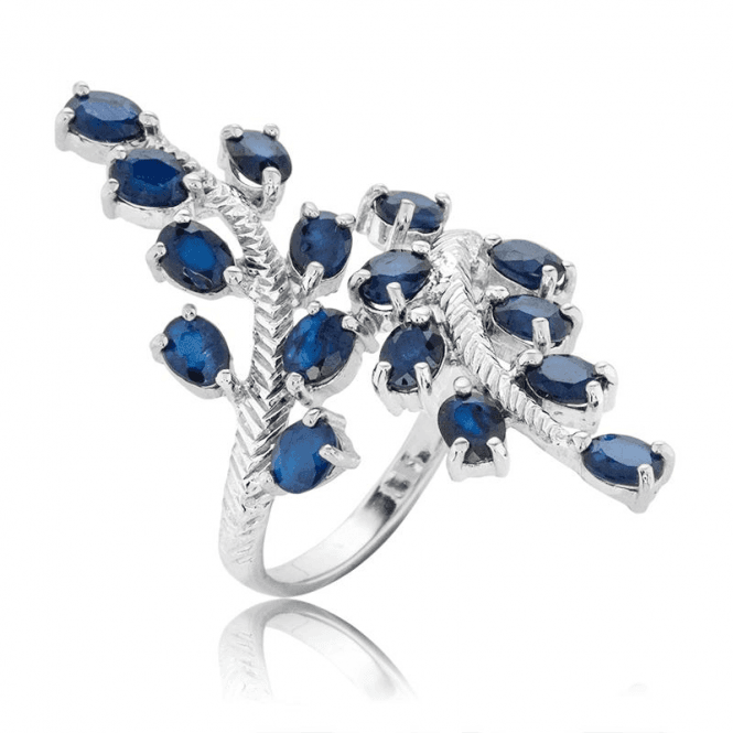 Extravagant Leaf Ring Set with over 3cts of Sapphire
