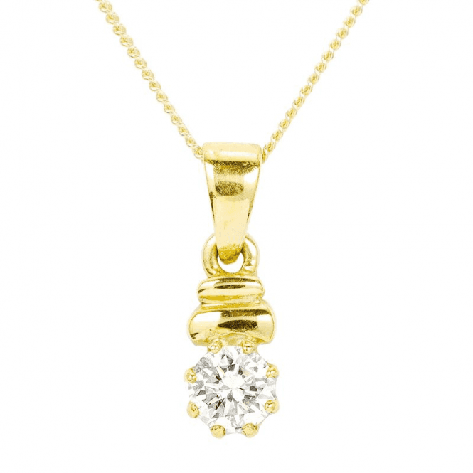 Classic Diamond Pendant in 18ct Yellow Gold