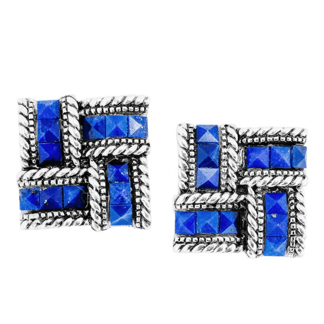 Gleaming Silver Studs Glisten with Faceted Lapis