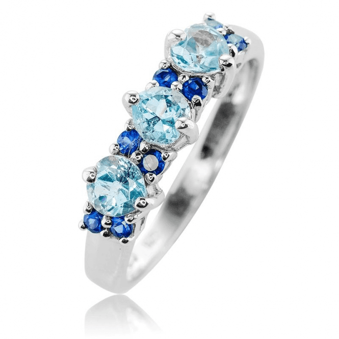 Equilibrium Ring Balances 0.50ct of Aquamarine with Deep Sapphire