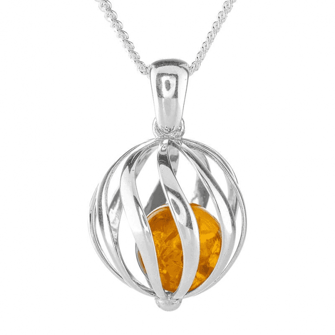 Tumbling Amber in a Silver Ball Pendant