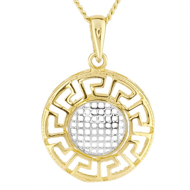 Greek Key Pendant Glints with Two Tones of 9ct Gold
