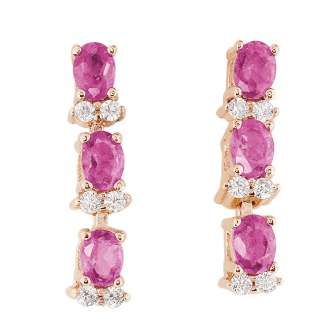1.20ct Pink Tourmaline Earrings with Topaz Glints