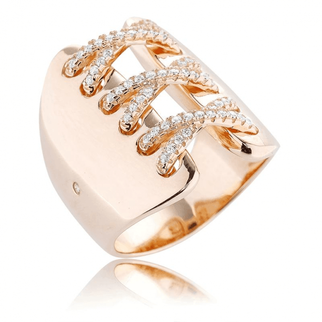 Fabulous Corset Ring Laced with Sparkle on Blushing Rose Gold