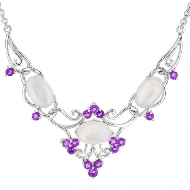 Dreamy Moonstone & Deep Amethyst Necklet