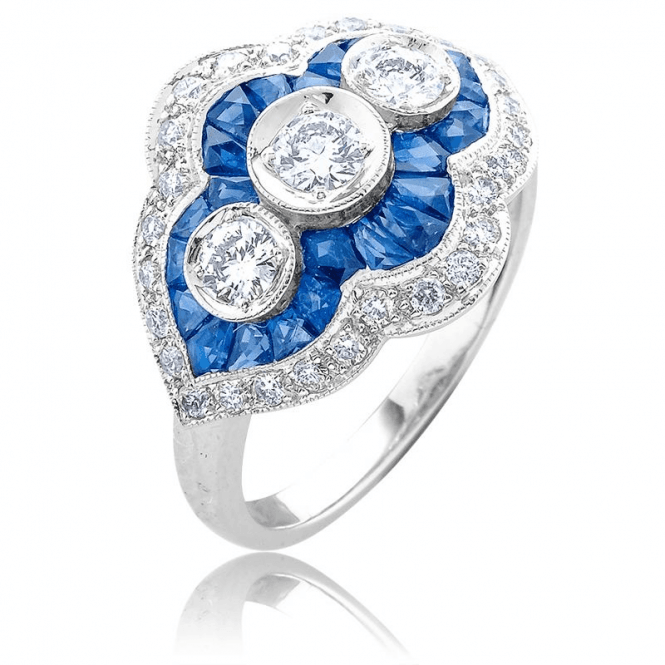 Shipton and Co Art Deco Diamond & Sapphire Ring in 18ct White Gold