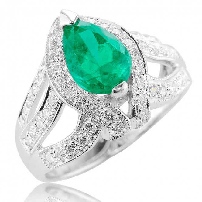 18ct White Gold Artistry Surrounds over 2½cts of Emerald & Diamond