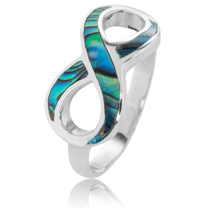 Silver Infinity Ring inlaid with Paua Swirls