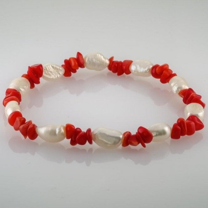 Coral & Pearl Bracelet
