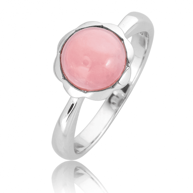 Rich Pink 2ct Opal Ring in Silver Petals Only £45