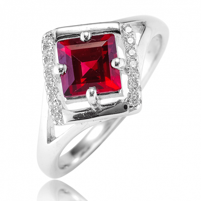 1/2ct Garnet Ring with Dazzling Silver Symmetry