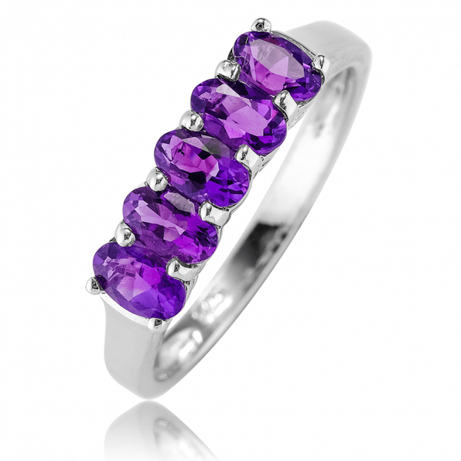 Half Eternity Ring with 0.8cts of Premium African Amethyst? Only £37.50