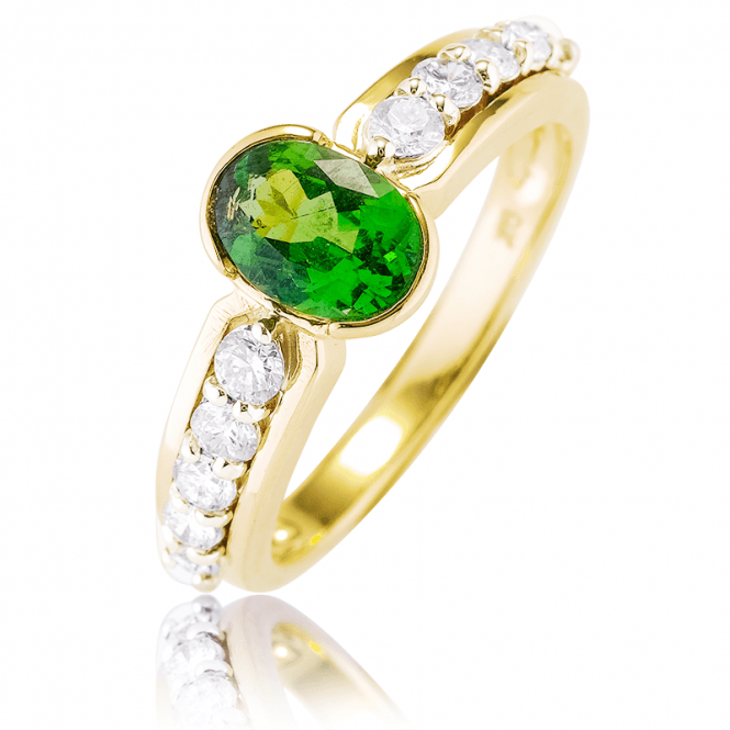 Vivid 1.40cts Tsavorite & Diamond Ring