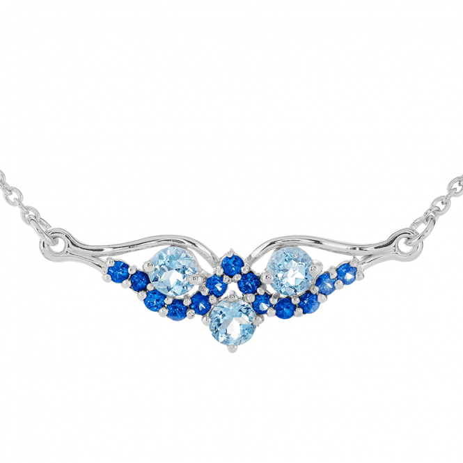 Flight Necklet of Sky Bright Aquamarine & Sapphire