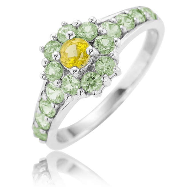 Yellow & Green Sapphire Cluster Ring ? Only £85