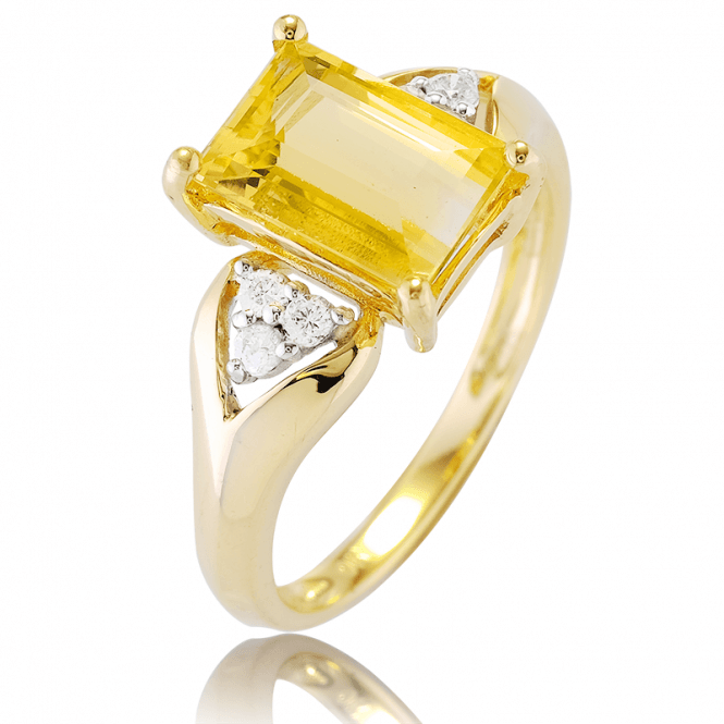 Superior Octagon Cut Golden Beryl set with Diamonds