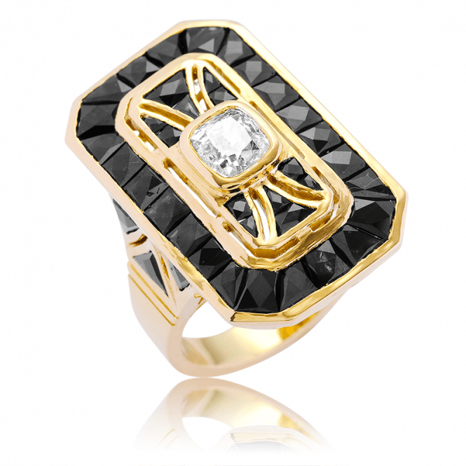 Art Deco Diamond Design with 6½cts of Intense Black Sapphire