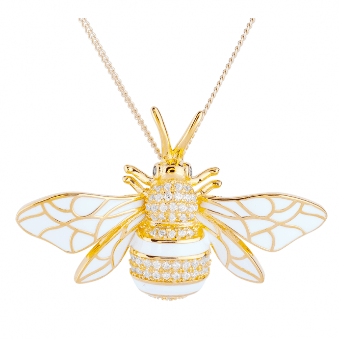 Heavenly Bee with Shimmering 18ct Gold & Enamel