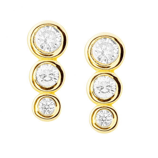 Diamond-bright Trilogy Earrings in 9ct Gold ? Only £65