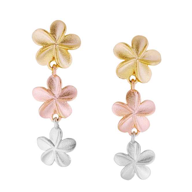 3 Tonal Gold Textured Flower Earrings