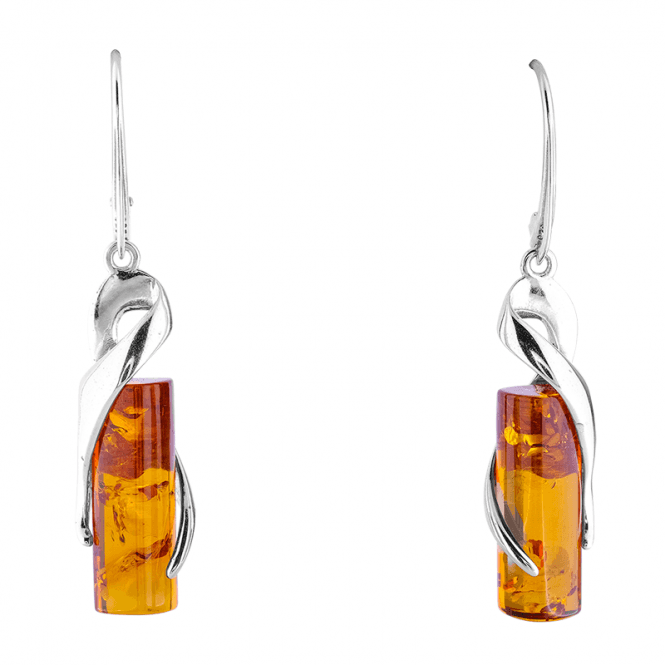 3D Barrel Earrings with 6cts of Cognac Baltic Amber