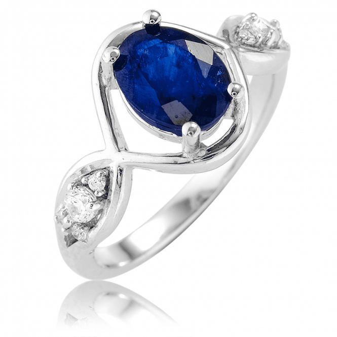 1ct Blue Sapphire Ring Lit by Twinkling Cubic Zirconia
