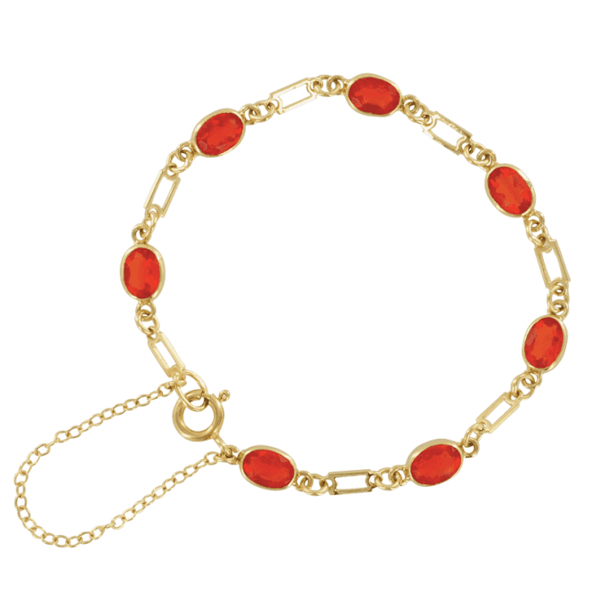 Shipton and Co Ladies Shipton and Co Exclusive 9ct Yellow Gold and Fire Opal Bracelet AY1170FO