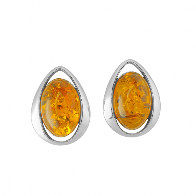 Amber & Silver Stud Earrings