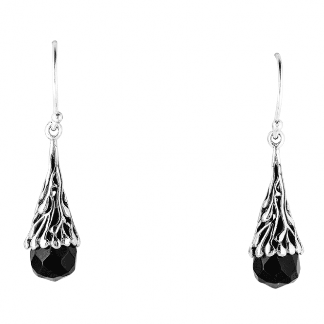 Darkly Gleaming Black Onyx & Silver Earrings