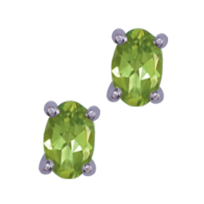 Ladies Shipton and Co Silver and Oval Peridot Stud Earrings EQA068PE