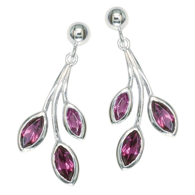 Ladies Shipton and Co Exclusive Silver and Rhodolite Garnet Earrings EQA200RH