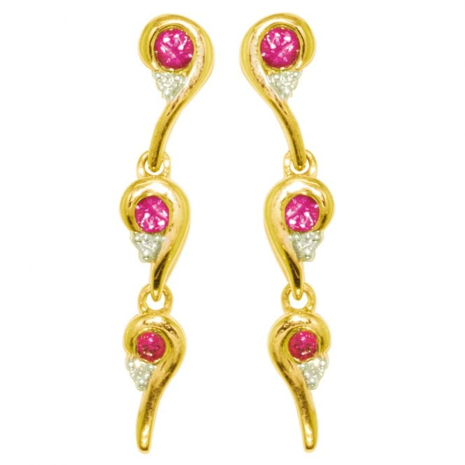 Ladies Shipton and Co Exclusive 9ct Yellow Gold Diamond and Ruby Enigma Earrings EYD005RUD