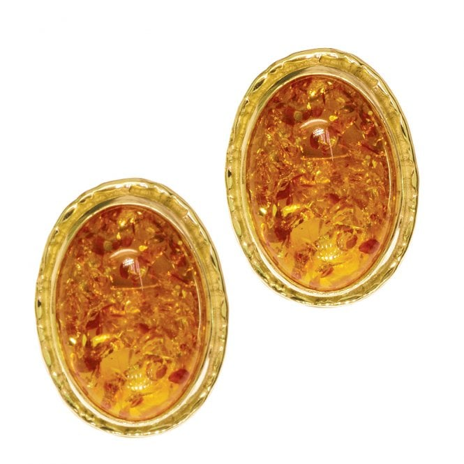 Ladies Shipton and Co Exclusive 9ct Yellow Gold and Amber Earrings EY1074AB