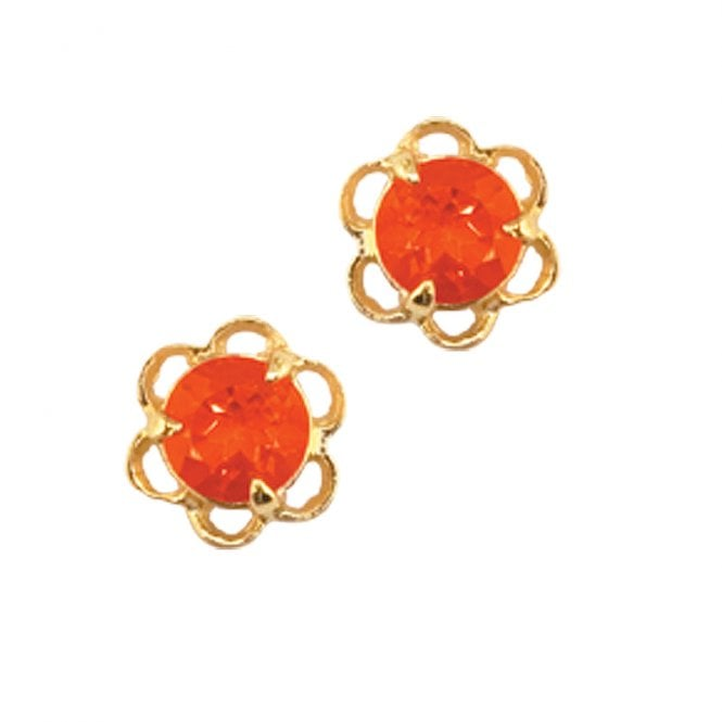 Ladies Shipton and Co Exclusive 9ct Yellow Gold and Fire Opal Earrings EY0035FO