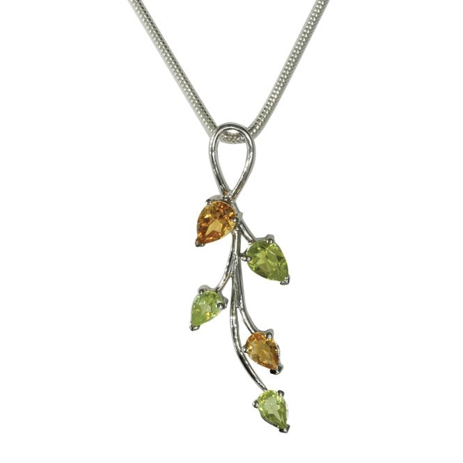 Ladies Shipton and Co Exclusive Silver and Multiple Stone Peridot Pendant including a Silver Flexisnake Chain PQA143MU4