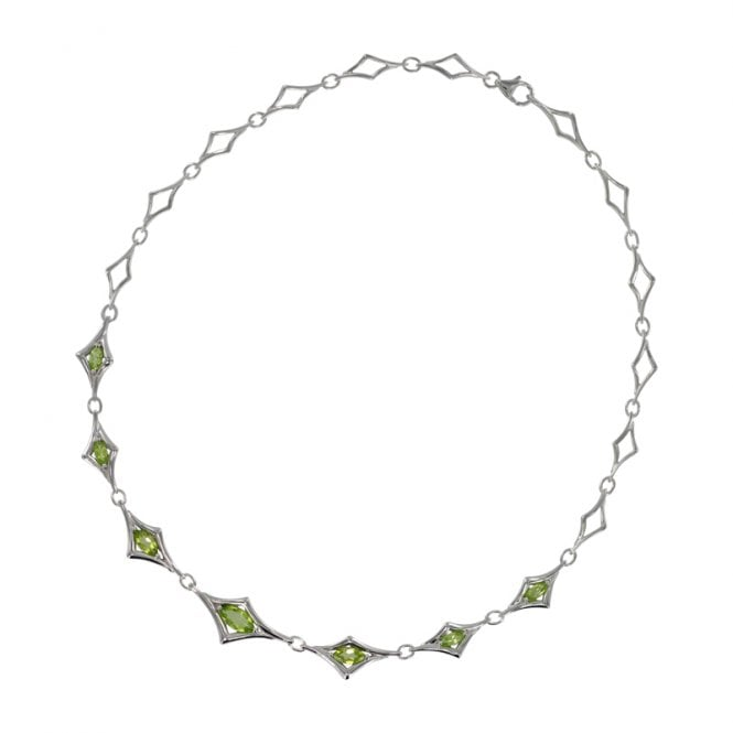 Ladies Shipton and Co Exclusive Silver and Marquise Peridot Angular Brackets Necklace NQA275PE