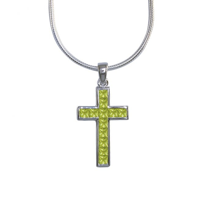 Ladies Shipton and Co Exclusive Silver and 3mm Square Peridot Cross Pendant including a 16 Silver Flexisnake Chain PQA064PE